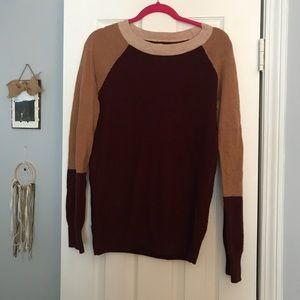 Sweaters - J.Crew Burgundy and Tan Color Block Sweater